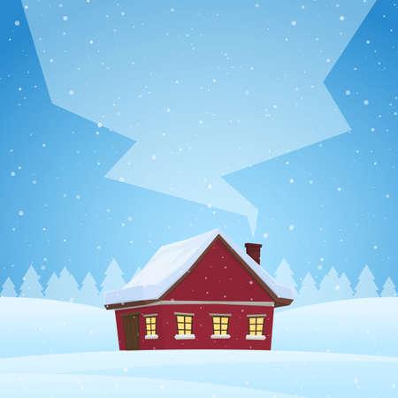 Rood cartoonhuis op sneeuw de winterachtergrond met ruimte voor tekst op rook van de schoorsteen