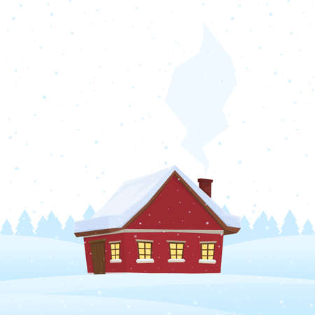Red cartoon house on snowy winter background.