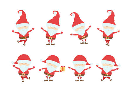 Set of Funny christmas santa claus. Cartoon characters isolated on white background.