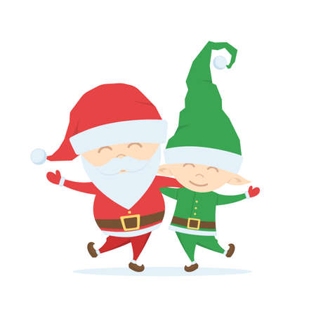 Santa Claus with Christmas Elf on white background Illustration