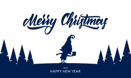 Vector illustration: Template for greeting card. Silhouette of elf with gift and hand lettering of Merry Christmas Ilustrace