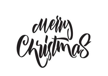 Vector illustration: Handwritten brush type lettering of Merry Christmas isolated on white background. Illusztráció
