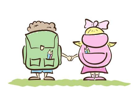 Vector illustratie: Hand getrokken schooljongen en schoolmeisje met zakken geïsoleerd op de witte achtergrond. Uitzicht vanaf de achterkant. Lijn ontwerp.