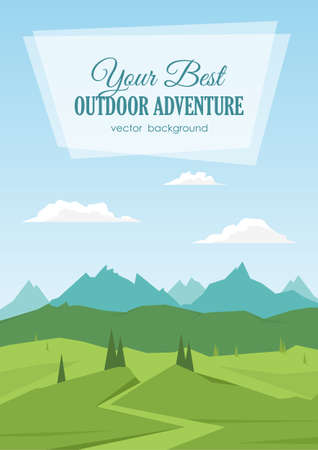 Vector illustration: Vertical Mountains landscape with road, pines, hills and space for text. Illustration