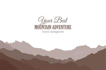 Vectorillustratie: geïsoleerd silhouet van bergruggen op witte achtergrond.