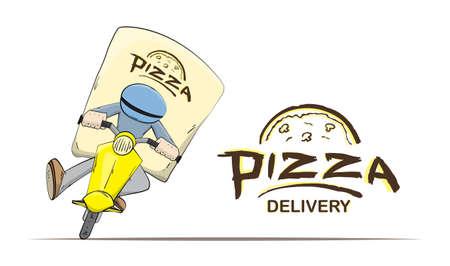 벡터 일러스트 레이 션 : 스쿠터에 격리 된 택배로 및 흰색 배경에 문자. 만화 피자 배달. 일러스트