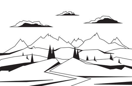Vector illustration: Line Mountains background with road, pines and hills.