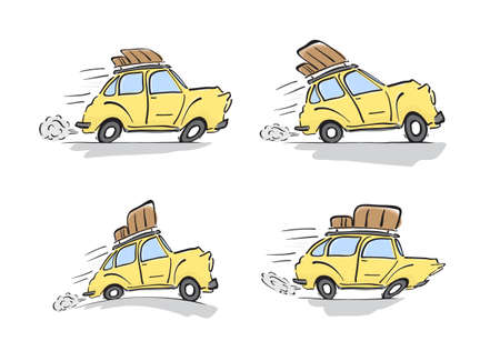 Set of distorted yellow retro cars with luggage on the roof on white background. Zdjęcie Seryjne - 94720752