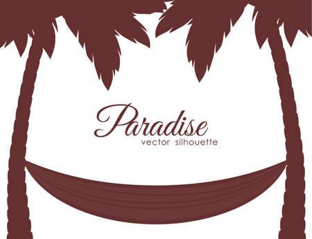 Isolated Silhouettes of palm trees and hammock on white background.