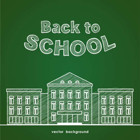 Flat line white school building and hand drawn lettering Back to school on green blackboard background. Illustration