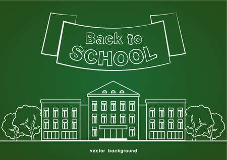 Platte lijn witte schoolgebouw met bomen, lint en belettering terug naar school op groene schoolbord achtergrond. Stockfoto - 94720754