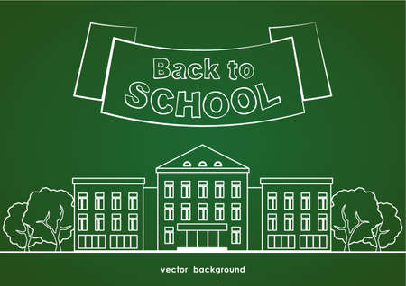 Flat line white school building with trees, ribbon and lettering Back to school on green blackboard background. Illustration