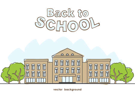 Hand drawn cartoon school building with trees on white background.