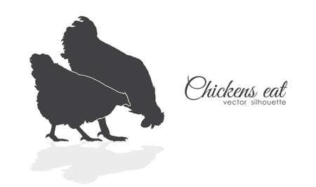 Het geïsoleerde silhouet van Kippen pikt voer op witte achtergrond. Stock Illustratie