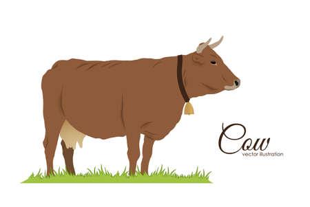 白い背景に孤立した牛。  イラスト・ベクター素材