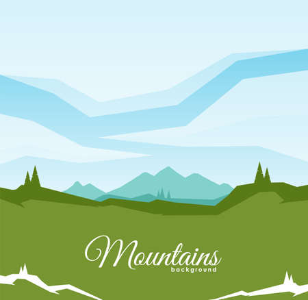 Vector illustration: Mountain landscape background with geometric clouds. Ilustrace