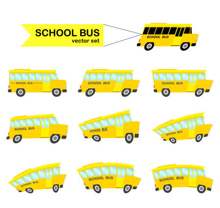 Vector illustration: Set of distorted yellow School Buses isolated on white background. Back to School. Ilustração