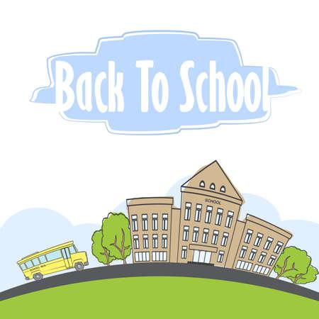 Cartoon scene with doodle school building and school bus.