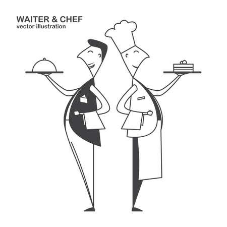 Flat waiter and chef isolated on white background. Line design Ilustração