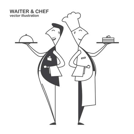 Flat waiter and chef isolated on white background. Line design Illustration