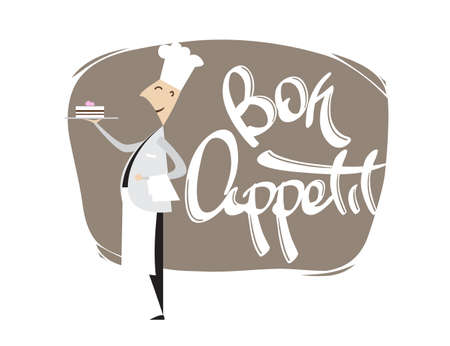 Cartoon scene of Chef Confectioner with cake and hand lettering of Bon appetit. Isolated on white background. Ilustracja