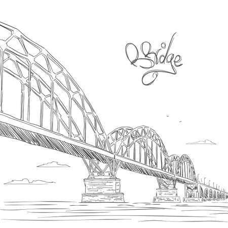 Hand drawn doodle sketch with bridge, clouds and birds. Vectores