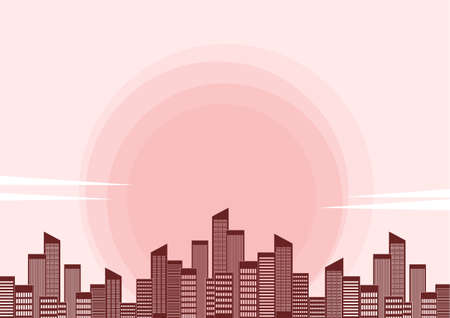 Vector illustration: Megalopolis with skyscrapers on sunset background. Illustration