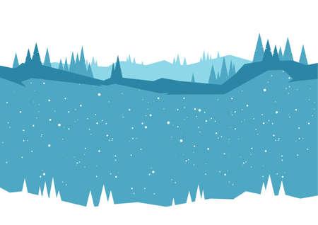 Winter Woodland background with pine, hills, snowfalls. 일러스트