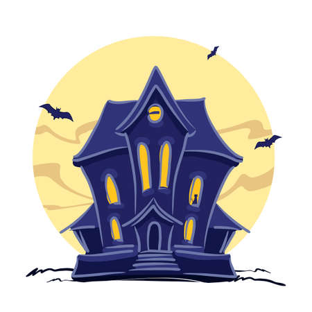 Haunted witch house with cat in the window and hand lettering of Halloween isolated on full moon background.