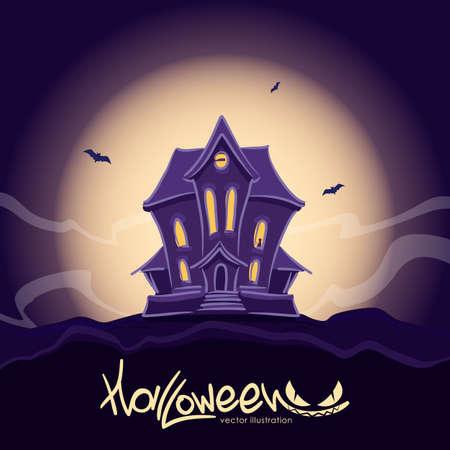 Achtervolgd heksenhuis bij Halloween-nacht met zwarte kat in het venster.