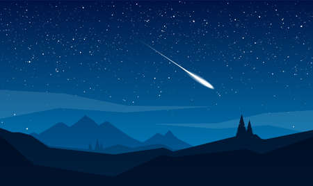 Night mountains landscape with stars and meteor. Stock Illustratie