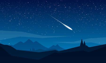 Nocny krajobraz gór z gwiazdami i meteorytem.