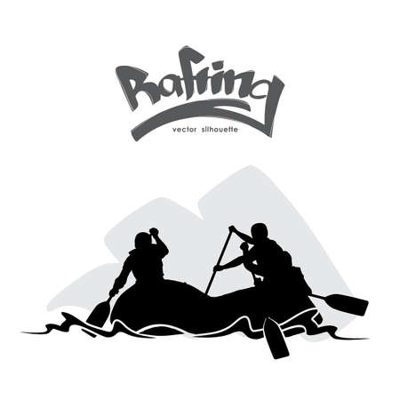 Scene with Silhouette of rafting team on water and hand lettering. Vectores