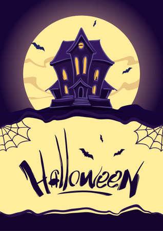 Verticale ontwerpsjabloon met spookhuis op maan achtergrond en Hand belettering van Halloween. Vector Illustratie
