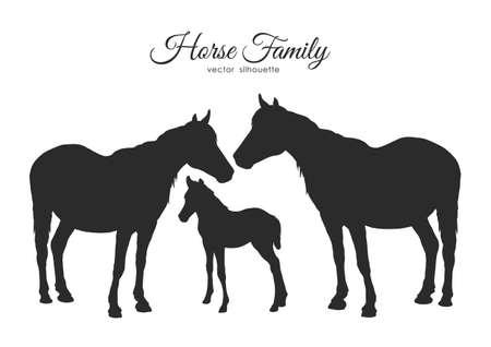 Siluetta della famiglia di cavalli isolata su fondo bianco.