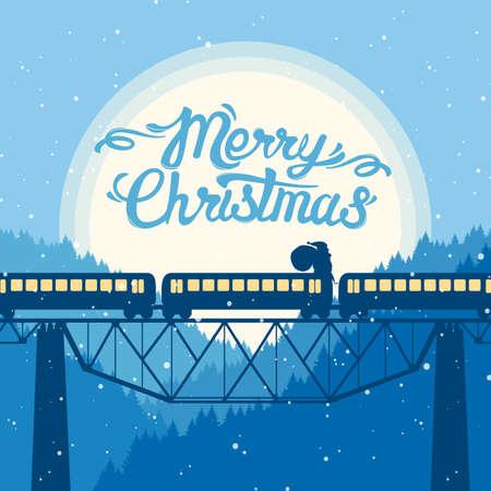 サンタクロースは月を背景に列車の上に乗ります。ハンドレタリング付きのクリスマスグリーティングカード。