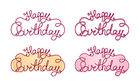 Vector illustration: Hand lettering of Happy Birthday. Calligraphy. Set of inscriptions.