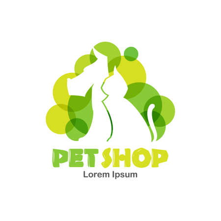 Vector Illustration: Logo design template for pet shop, veterinary clinic. Silhouette of dog and cat with green bubbles.