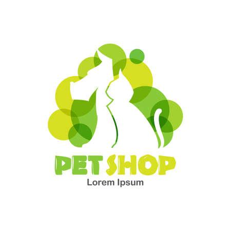Vector Illustratie: Logo ontwerpsjabloon voor dierenwinkel, veterinaire kliniek. Silhouet van hond en kat met groene bubbels. Stock Illustratie