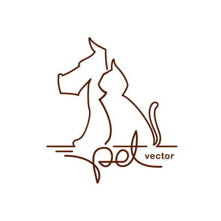 Logo design template for pet shop, veterinary clinic. Line style. Cat and dog with line hand lettering