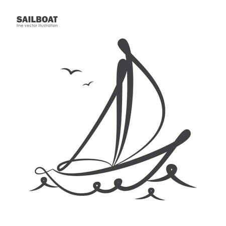 Vector illustration: Isolated sailboat on white background. Line design. Иллюстрация