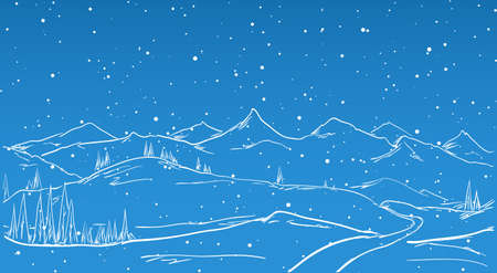 Vector illustration: Hand drawn Winter Mountains sketch landscape with road, pine and snowflake.