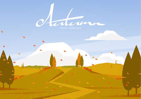 Vector illustration: Autumn landscape with road and hills Ilustrace