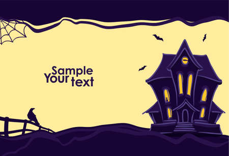 Vector illustration: Halloween background with hand drawn Haunted house and silhouette of raven and bats.