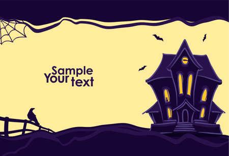 Vectorillustratie: Halloween-achtergrond met hand getrokken spookhuis en silhouet van raaf en vleermuizen.