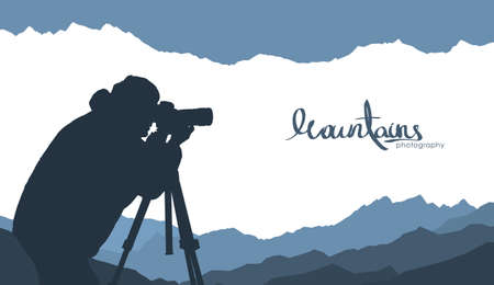 Vector illustration: Mountains template background with silhouette of nature photographer. Stock Illustratie