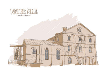 Vector illustration: Hand drawing old Water Mill. Outline Sketch