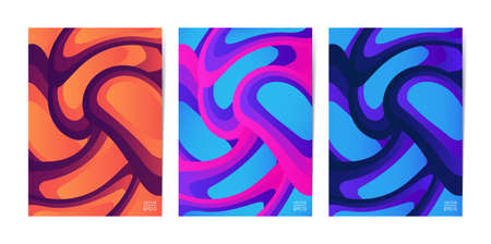 Set of fluid color covers vector illustration.