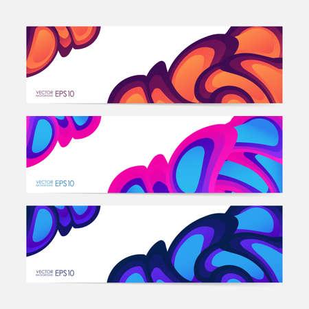Set of fluid color banners vector illustration.