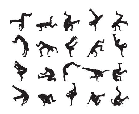 Big set of Silhouette of expressive break dance. Young people dancing of Hip Hop on white background